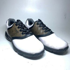 FootJoy Greenjoy Mens Golf Cleats White Brown Lace